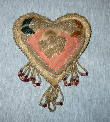 Antique Iroquois Whimsey Heart Shaped Beaded Pin Cushion