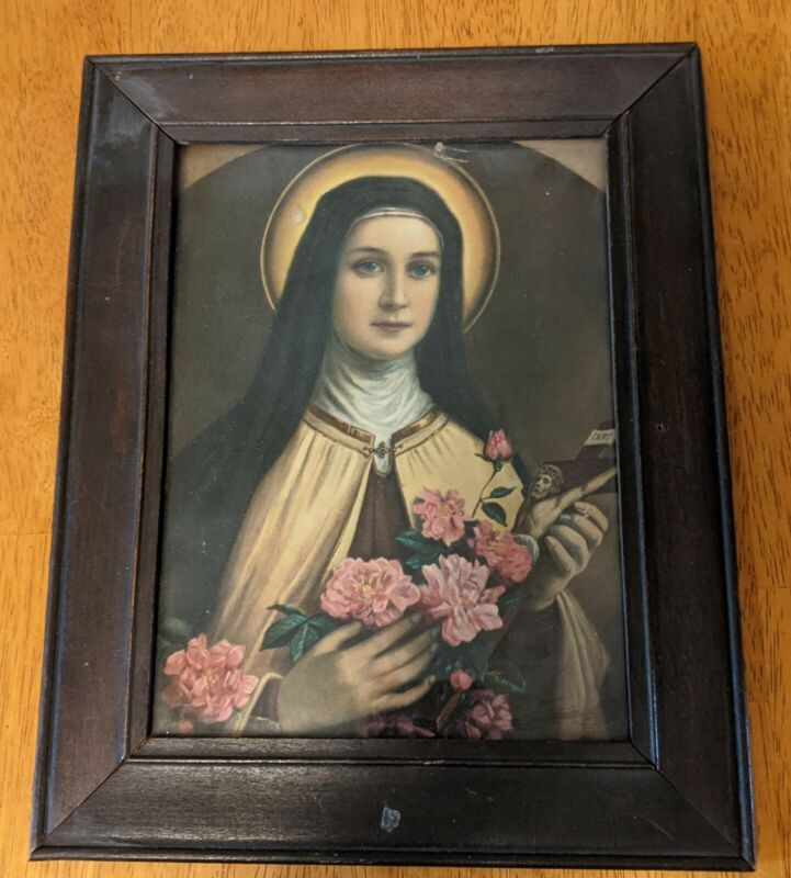 VINTAGE 8x10 FRAMED PICTURE OF ST. THERESE OF LISIEUX HOLDING ROSES &...