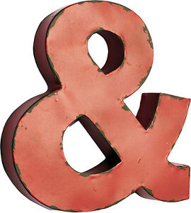 RED AMPERSAND LETTER METAL SIGN INDUSTRIAL MARQUEE Vintage Style Art