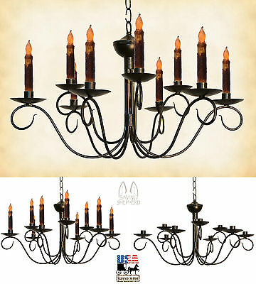 2 Tier 9 Arm Chandelier - 2-Tier Scrolled 9 Arm COLONIAL METAL CANDLE CHANDELIER Handmade Candelabra USA