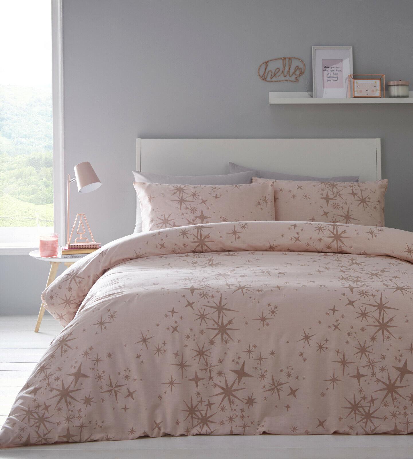 Rose Gold Duvet Cover Delicate Glitter Shimmer Stars Quilt Cover Set Bedding Set Ebay