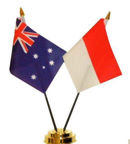 Australia & Indonesia Double Friendship Table Flag Set