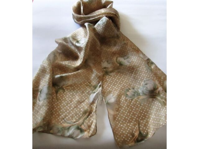 * LONG SILK SCARF * TAN WITH WHITE DOTS & PEONIES *