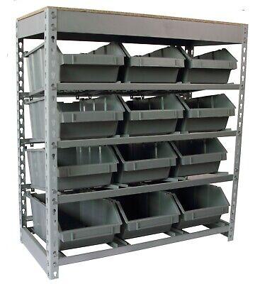 Bin Rack Boltless Steel Storage System Organizer W 12 Plastic Bins In 4 Tiers