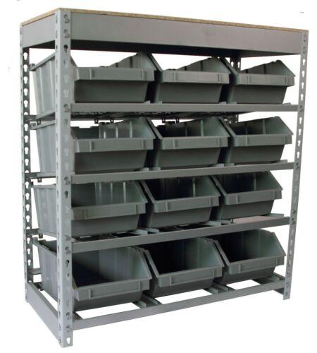Bin Rack Boltless Steel  Storage System Organizer w/ 12 Plastic Bins in 4 tiers