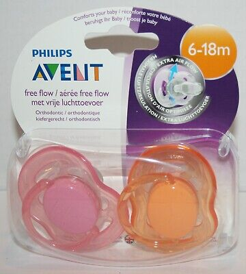 SEALED Philips Avent Free Flow Baby Girl Pacifiers Pink and Orange 2pk 6-18m
