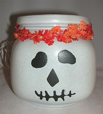 Lighted Glass Jar Skull Ghost Jack-o-lantern Glow Halloween Décor 4.5x4 NIB - Glass Jar Halloween Lanterns
