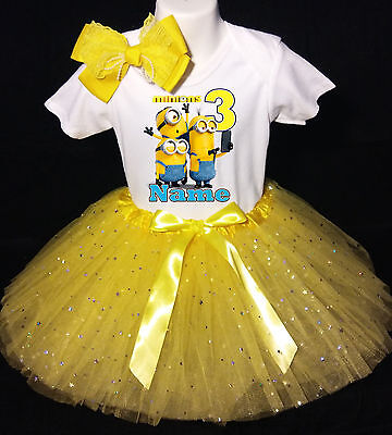 Baby Mädchen Minion Outfit (Minions 3rd Birthday dress --With NAME-- party Tutu outfit)