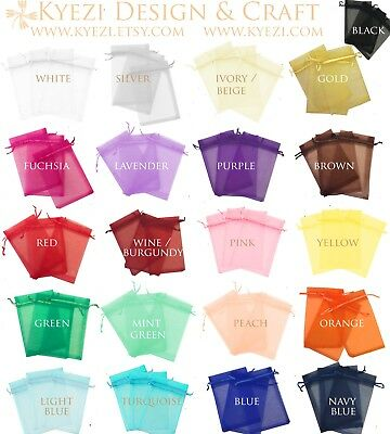 Drawstring Pouches (50/100/150/200 Drawstring Organza Bag Jewelry Pouch Wedding Party Favor Gift)