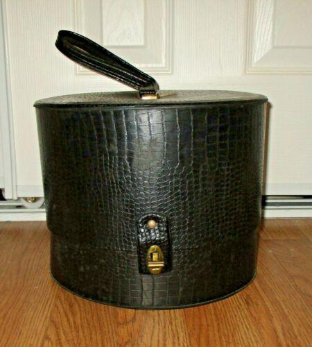 VINTAGE RETRO ROUND BLACK COLOR  HAT BOX