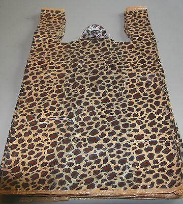 50 Leopard Print Design Plastic T-shirt Retail Shopping Bags Handles 11.5x6x21