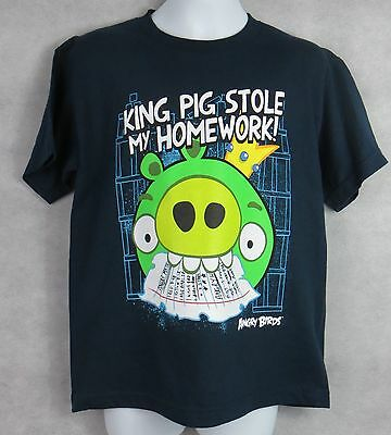 ANGRY BIRDS Boys T-Shirt King Pig Stole My Homework Navy Officially Licensed - King Pig