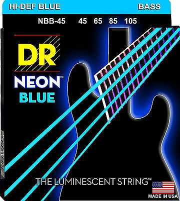 DR NBB-45 4 string Hi-Def Neon Blue Coated Bass Guitar Strings 45-105 MED