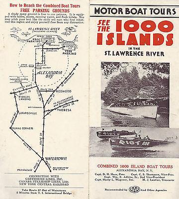 1000 Islands Motor Boat Tours Vintage Brochure Combined Boats Alexandria Bay NY
