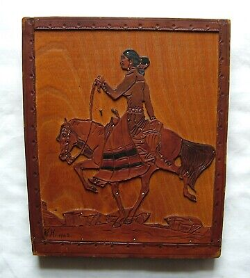 Vintage Hand Carved Leather Wood Spanish Lady On A Horse Wall Picture SN 753G