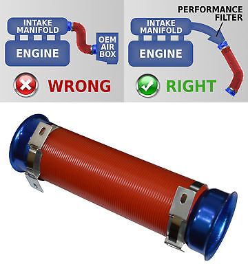 UNIVERSAL COLD AIR FEED / INTAKE PIPE RED PIPE with BLUE RAMS 2104RB--AUS