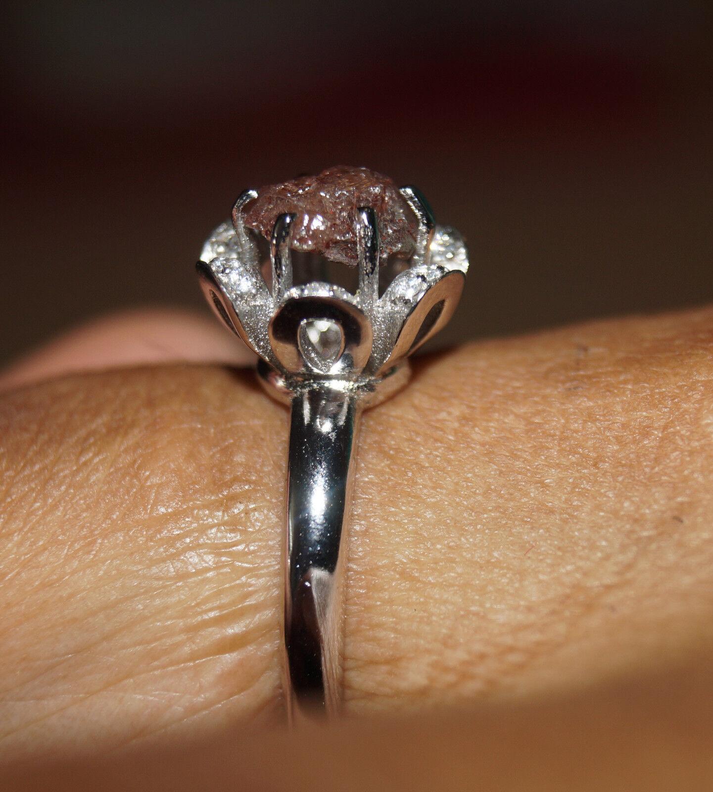 150 ct natural raw red diamond ring uncut rough diamond
