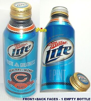 2010 CHICAGO BEARS MONSTERS NFL FOOTBALL MILLER LITE ALUMINUM BOTTLE BEER CAN IL