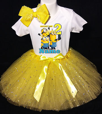 Baby Mädchen Minion Outfit (Minions 2nd  Birthday dress --With NAME-- party Tutu outfit)