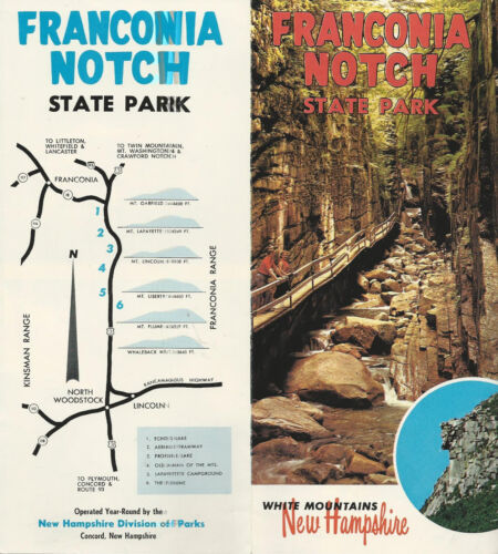 Franconia  Notch State Park White Mountains New Hampshire Travel Brochure 1960