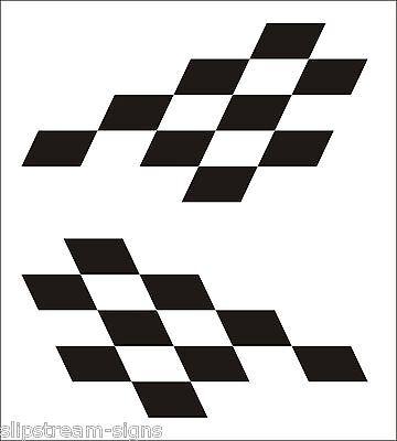 2x Large Chequered vinyl stickers graphics decals stock car racing dirt bike van