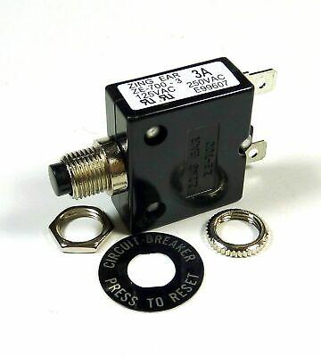 Philmore 3 Amp Push Button Manual Reset Thermal Circuit Breaker 50v Dc 250v Ac