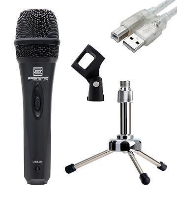 MICROFONO USB DJ PC PODCAST INTERNET RADIO AUDIO SET LEGGIO A TAVOLO CAVO CLIP