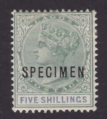 Lagos. SG 40s, 5/- green & blue, specimen. Mounted mint.