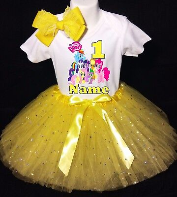 My Little Pony***With NAME***1st First Birthday Yellow Tutu Dress Fast Shipping