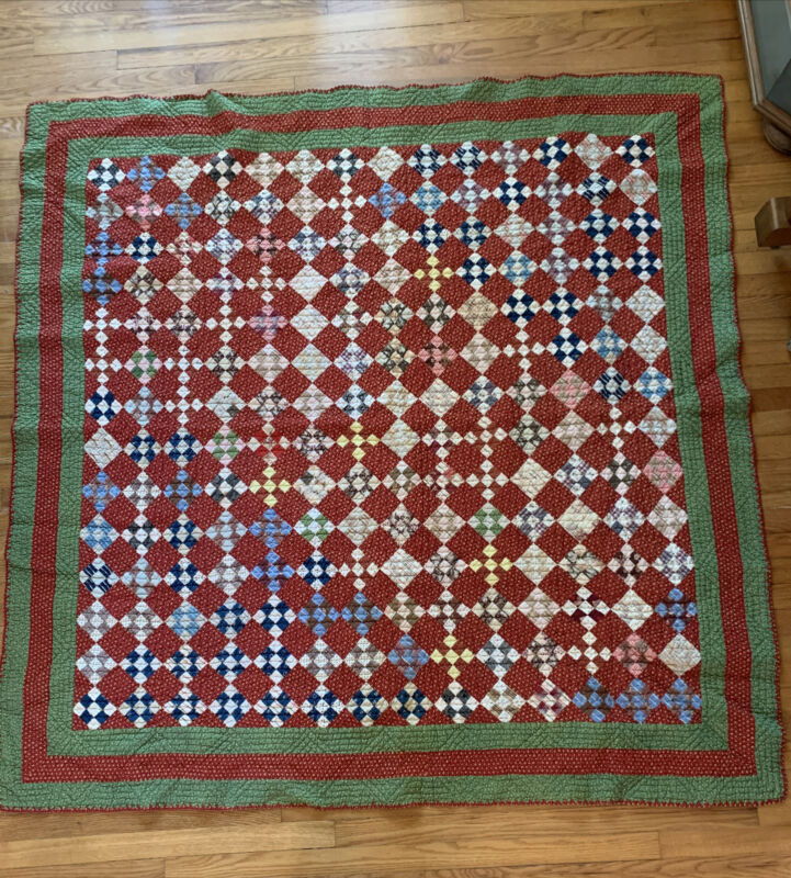 Antique Quilt Coverlet Hand Stitched Small Stitches Rhombus Shapes Clean Neat!