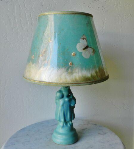 Vintage Van Briggle Ming Blue Lamp & Original Shade *Works*