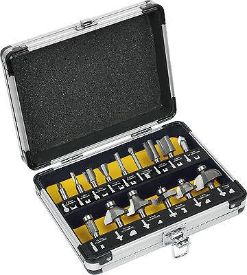 "15PC Router Bit Set 1/4"" shank Tungsten Carbide with Aluminium case 6.35mm shank"