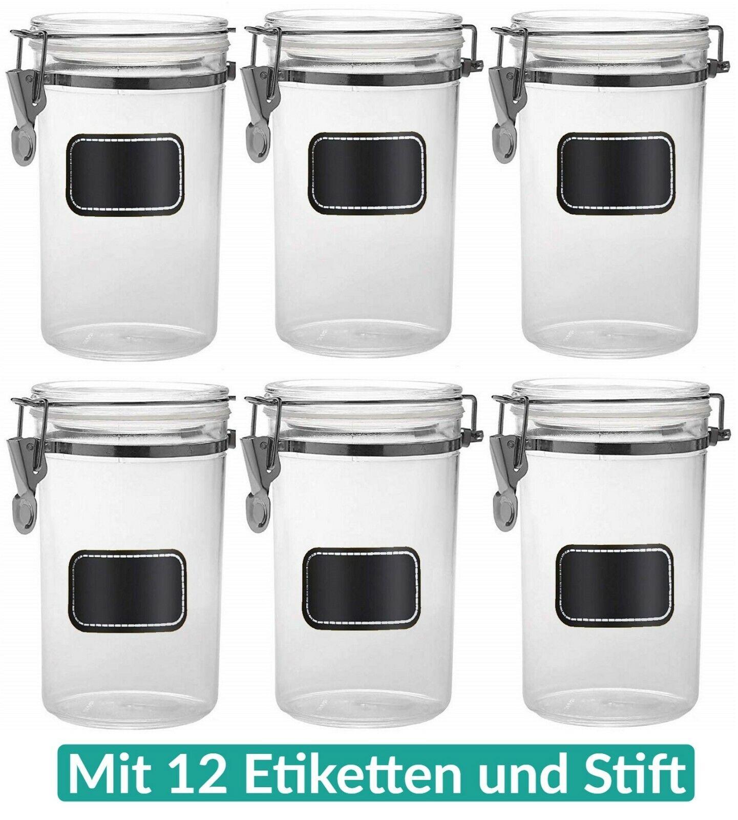 6 Vorratsdosen Set Vorrats Gläser Behälter Dosen 800ml Mehl Zucker Müsli Kaffee
