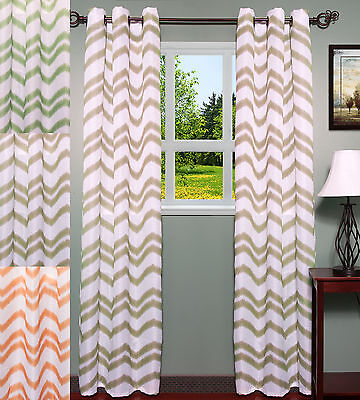 Ivana Jacquard Chevron Pattern 38″ x 84″ Grommet Curtain 2 Panel Set – 3 Colors Curtains & Drapes