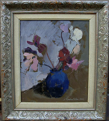 Carsten Ström 1913-1995, Blumen in blauer Vase, datiert 1944