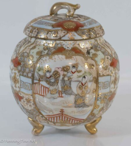 Antique Nippon Porcelain Lidded Jar Chinese / Asian Design, Old Staple Repairs