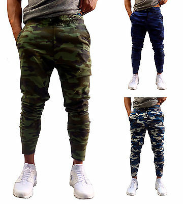 - MENS CAMO TAPERED LEG JOGGERS GYM TRACKIES SKINNY CUFFED PANTS TRACK PANT ARMY