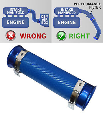 UNIVERSAL COLD AIR FEED / INTAKE PIPE BLUE with BLUE RAMS 2104BB--AUS