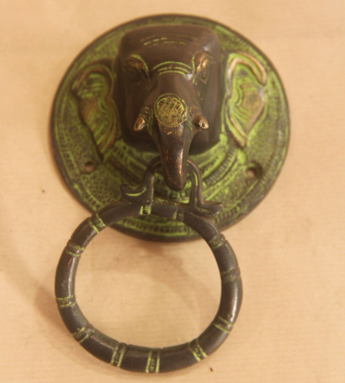 Brass elephant door knocker handle vintage antique finish for Brass home decor