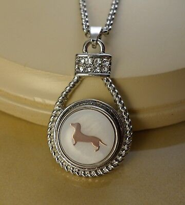 DACHSHUND dog lover Snap drop pendant silver necklace gifts for women jewelry ()