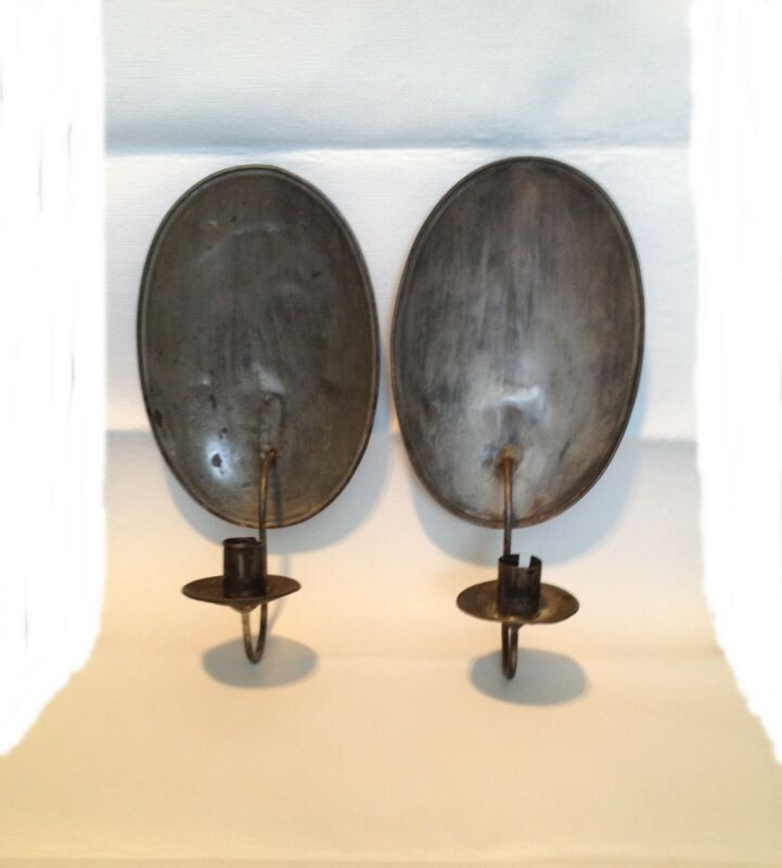 EARLY PAIR OF TIN TURTLE BACK CANDLE SCONCES 18TH CENTURY ORIGINAL