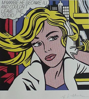 """ROY LICHTENSTEIN """"M-Maybe"""" (A Girls Picture) MATTED SIGNED"""