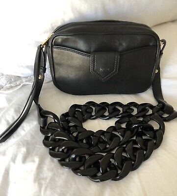 N21 Numero Ventuno Black Leather Camera Bag. Chunky Chain Strap. Crossbody Bag!