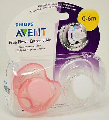 Philips Avent Free Flow Orthodontic Pacifiers 0-6 months Extra Airflow 2-pk NEW