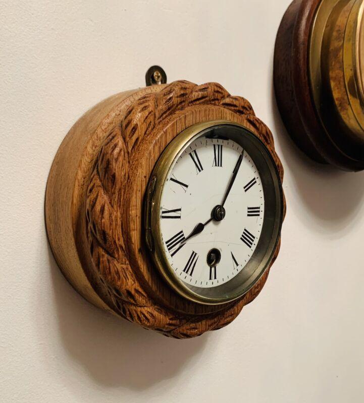 French Brass cased Ships Bulkhead clock in Rope Carved Oak frame (c.1930's)