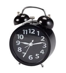 Retro Style Twin Bell Alarm Clock, Black