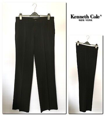 KENNETH COLE New York Women's Straight Fit Black Trousers Size 16 (W34 L34)