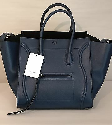 CELINE Phantom Luggage Handbag in Blue Grained Leather