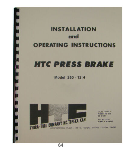 HTC Hydraulic Press Brake Model 250-12H Installation & Operating Manual *64