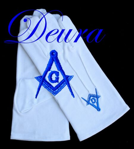 Masonic EMBROIDERED White 100% Cotton Gloves Blue G Square & Compass Size XL
